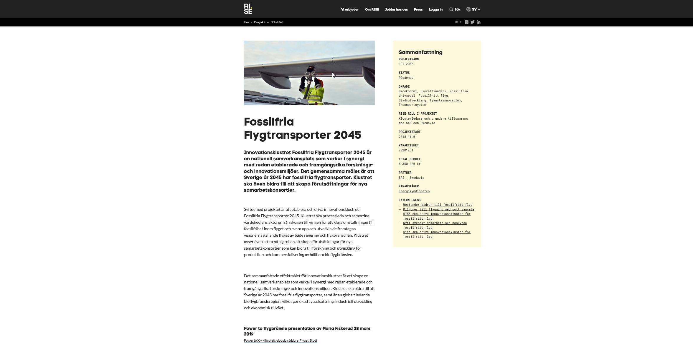 Fossilfria Flygtransporter 2045